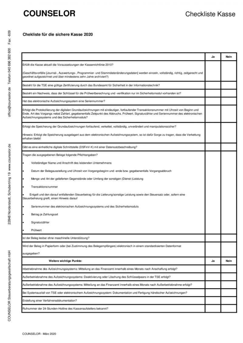 FORMULAR - Checkliste Kasse l