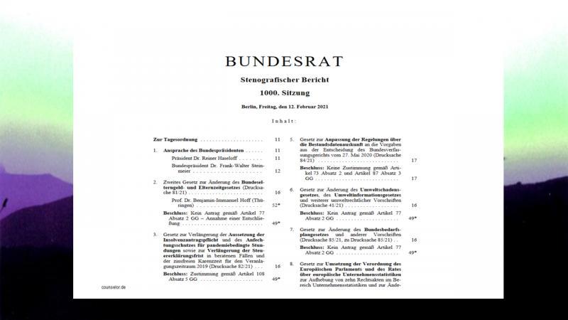 Bundesrat 1000 Sitzung Inhalt