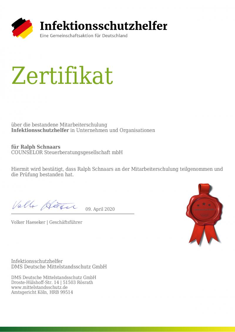 Zertifikat-Infektionsschutzhelfer