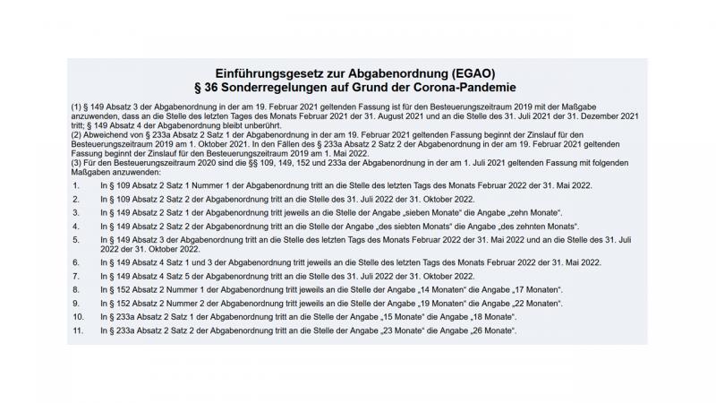 36 EGAO - Sonderregelungen wegen Corona