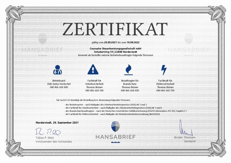 Zertifikat-Arbeitssicherheit