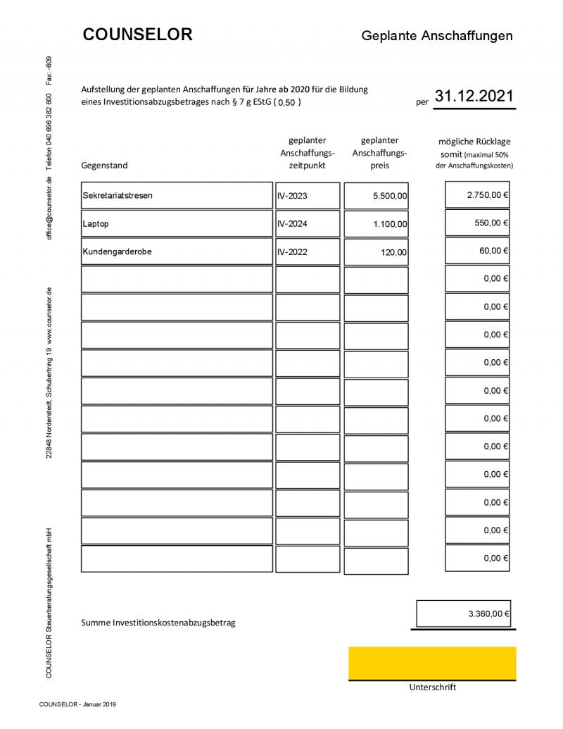210828 Investitionskostenabzug 2020 Bsp