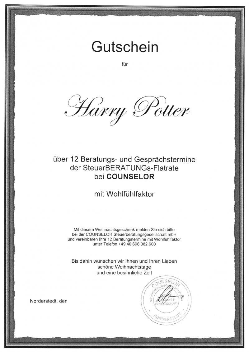 Weihnachtsgeschenk für Unternehmer Gutschein Potters