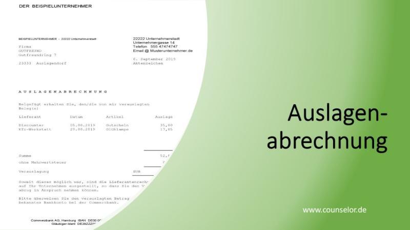 Steuerberatung für GmbH Bilanz Jahresabschluss De Auslagenabrechnung