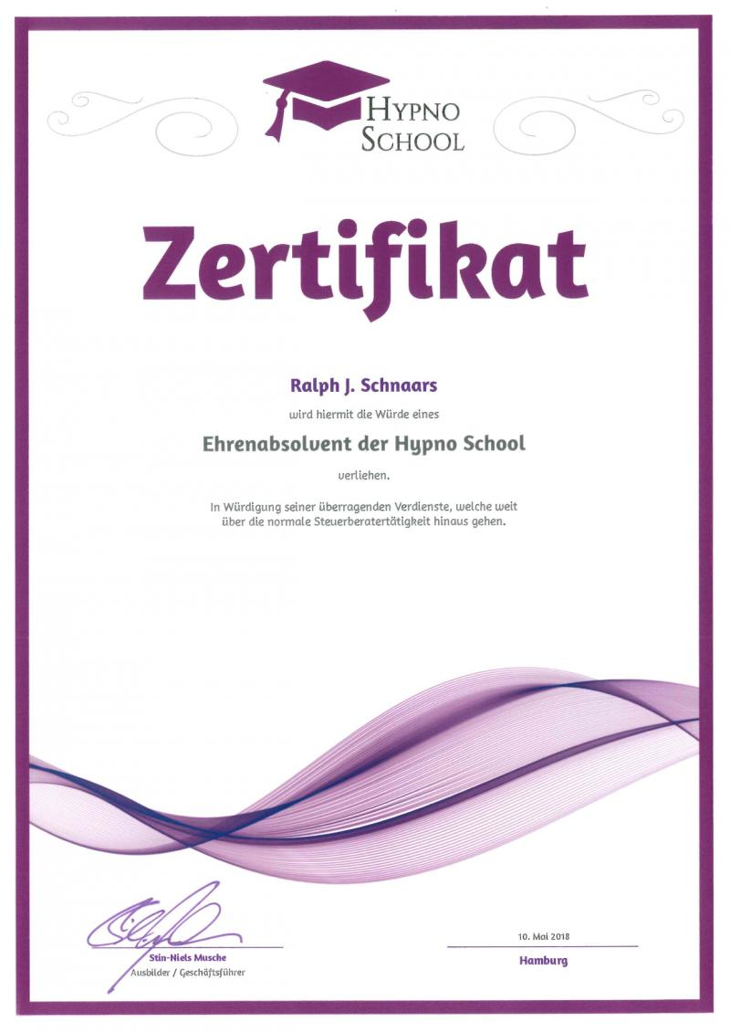 Zertifikat Hypno School
