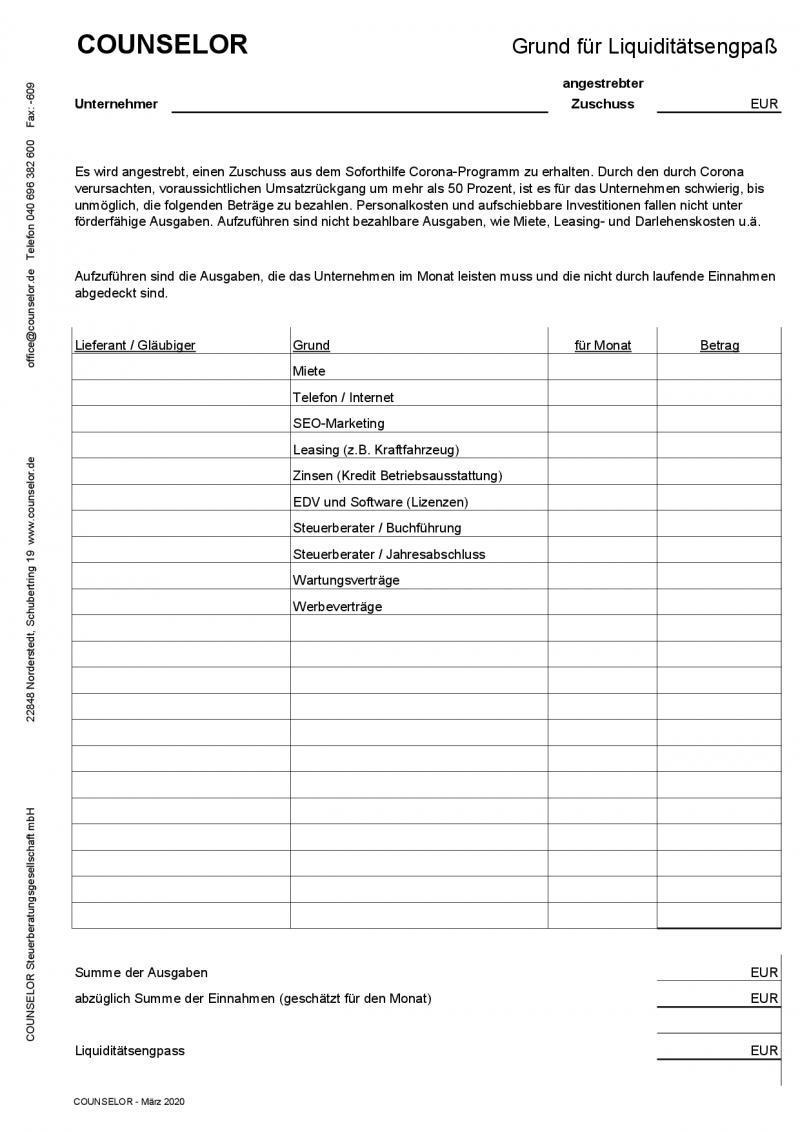 Liquiditätsengpass - Steuerberater zu covid-19 Coronavirus