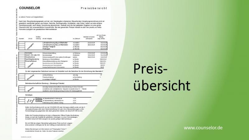 Preisübersicht Steuerberatung Deckblatt