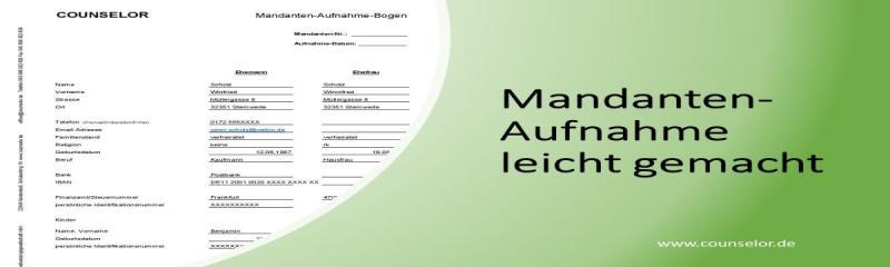 Mandanten Aufnahme Bogen Formular