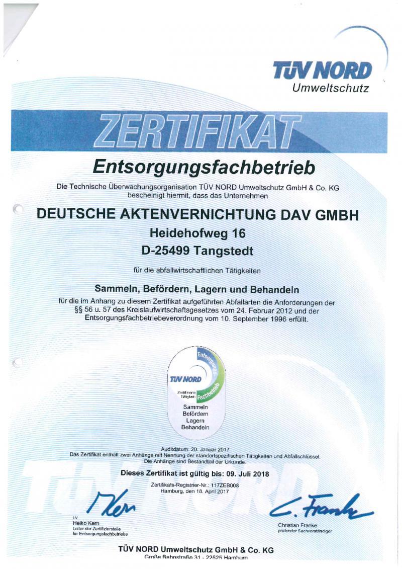 Zertifikat-TUEV Nord für DAV